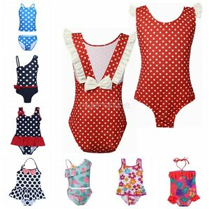 74401cbb3b Girls Kids Baby Polka Dot Bikini Swimsuit Swimwear Swimming Beach ...