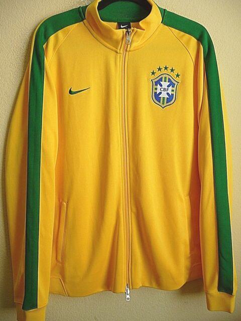 ce3777d4d436d Mens Size 2xl Nike CBF Brasil Soccer Track Zip Jacket Yellow Green ...