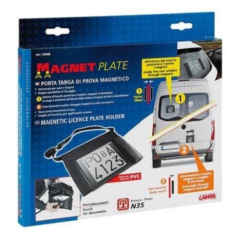 Porta targa di prova magnetico,con tasca documenti,ottimo su vetro o lamiera