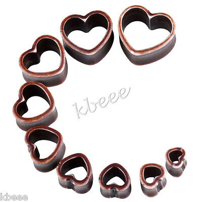 2pc Punk Vintage Brown Double Flare Acrylic Hollow Heart Ear Tunnel Plug Earlets