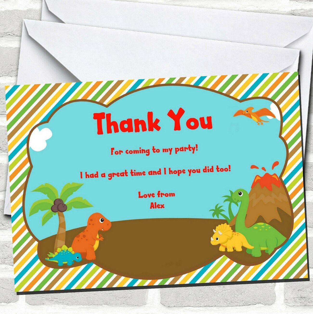 Sweet Little You Dinosaurs Birthday Party Thank You Little Cards