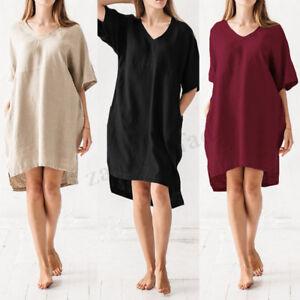 ZANZEA-Women-Casual-Solid-V-Neck-Baggy-Cotton-Tunic-Shirt-Retro-Dress-Plus-Size