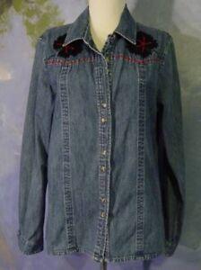 VINTAGE-Boho-BLACK-FLOWERS-Red-Beads-Stitched-Denim-WESTBOUND-Shirt-Blouse-M