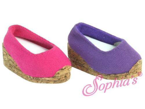 "PURPLE Cork Wedge Canvas Espadrille Shoe for 18/"" /& American Girl Doll Shoes"
