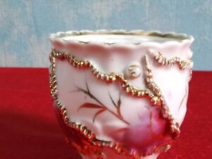 Victorian-Mustache-Style-Cup-Gold-Raised-Flowers-Lace-ANTIQUE