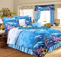 DOLPHIN Bedding Tropical Ocean Beach All Sizes Nautical Blue Comforter Set+Sheet
