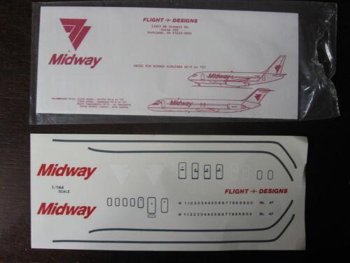 B-737  DECALCOMANIE 1//144 DECALS FLIGHT DESIGNS MIDWAY AIRLINES DC-9