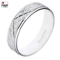 NEW Men's Women's 6 MM Stainless Steel Wedding Band Classic Diamond CUT Ring