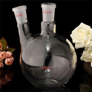 1000ml-1L-2-Necks-24-40-Bottom-Glass-Flask-Laboratory-Bottle-Lab-Glassware-New