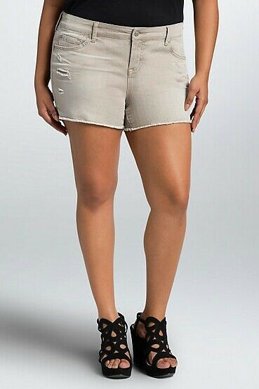 Torrid Womens Shorts Plus Size 22W Skinny Short Sand Wash Destruction (FFF26