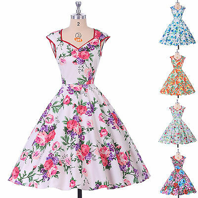 Floral Print 50'S 60'S Swing Pin Up Housewife Vintage Retro Prom Party Dresses