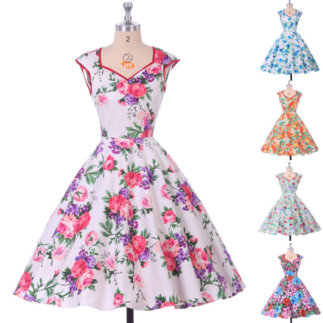 SUMMER Vintage Style DRESSES 50s 60s pinup Housewife Swing Prom Dress