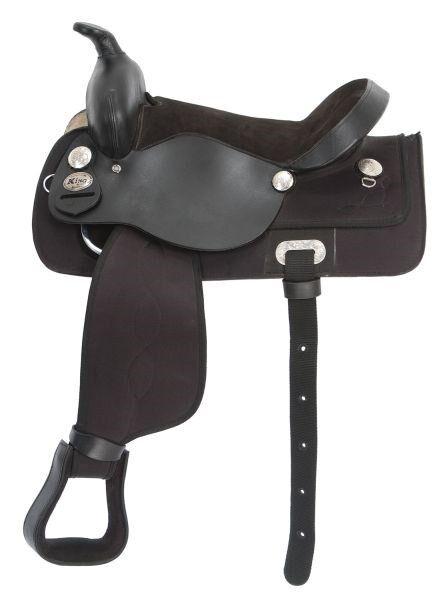 14  Pulgadas Western Saddle-Negro Sintético Y Cuero Negro-King Series  ventas en linea