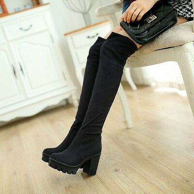 Women's Fashion Over The Knee Boots Round Toe Platform Chunky High Heel Shoes Sz