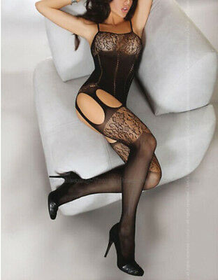 Sexy Women's Lace Bodystocking open crotch Flower Hot Lingerie Bodysuit Costume