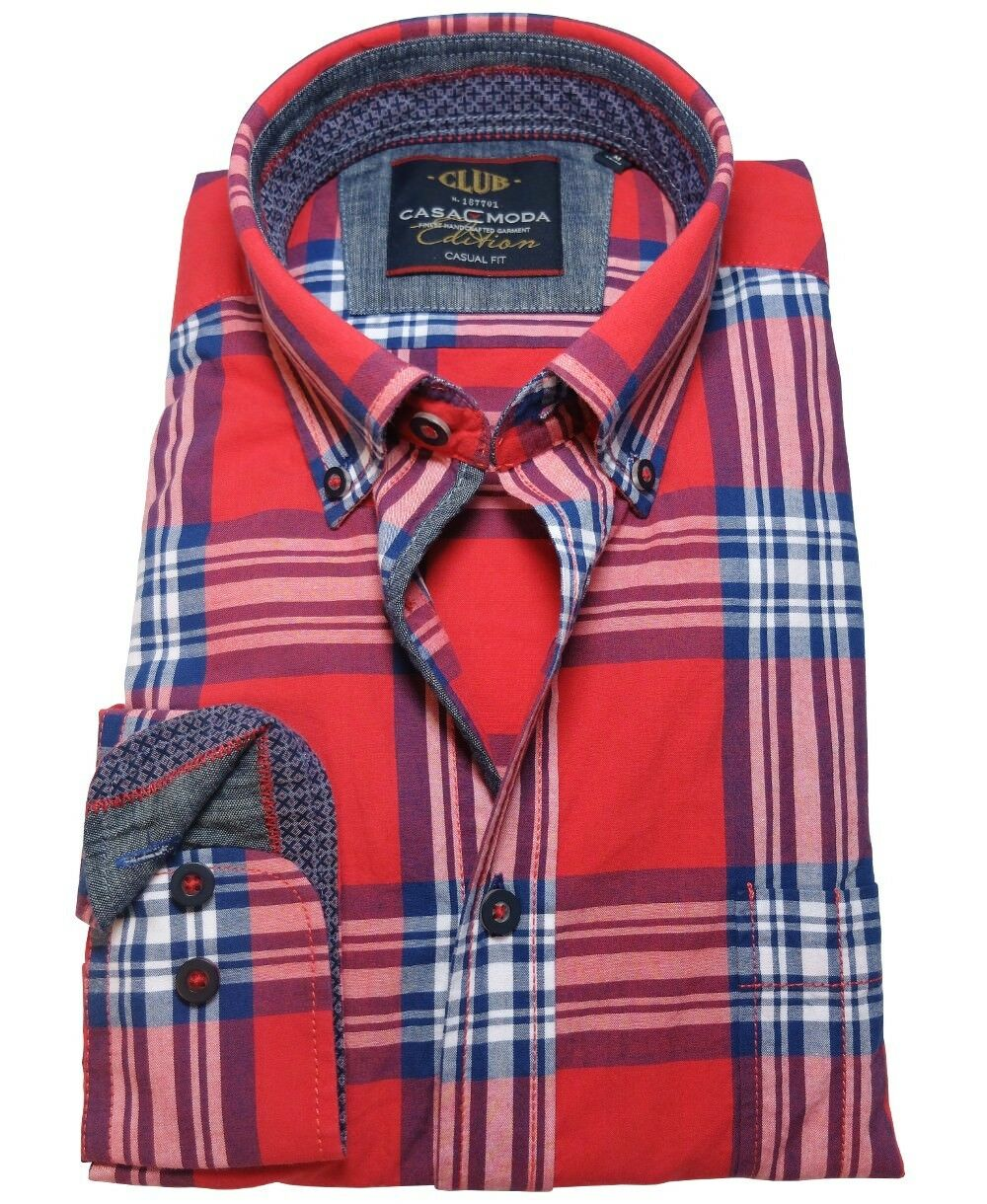 Casa Moda Casual Fit Freizeithemd Langarm Karo in red blue weiss Gr. M - 6XL