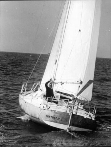 Eric Tabarly on boat 8x10 photo