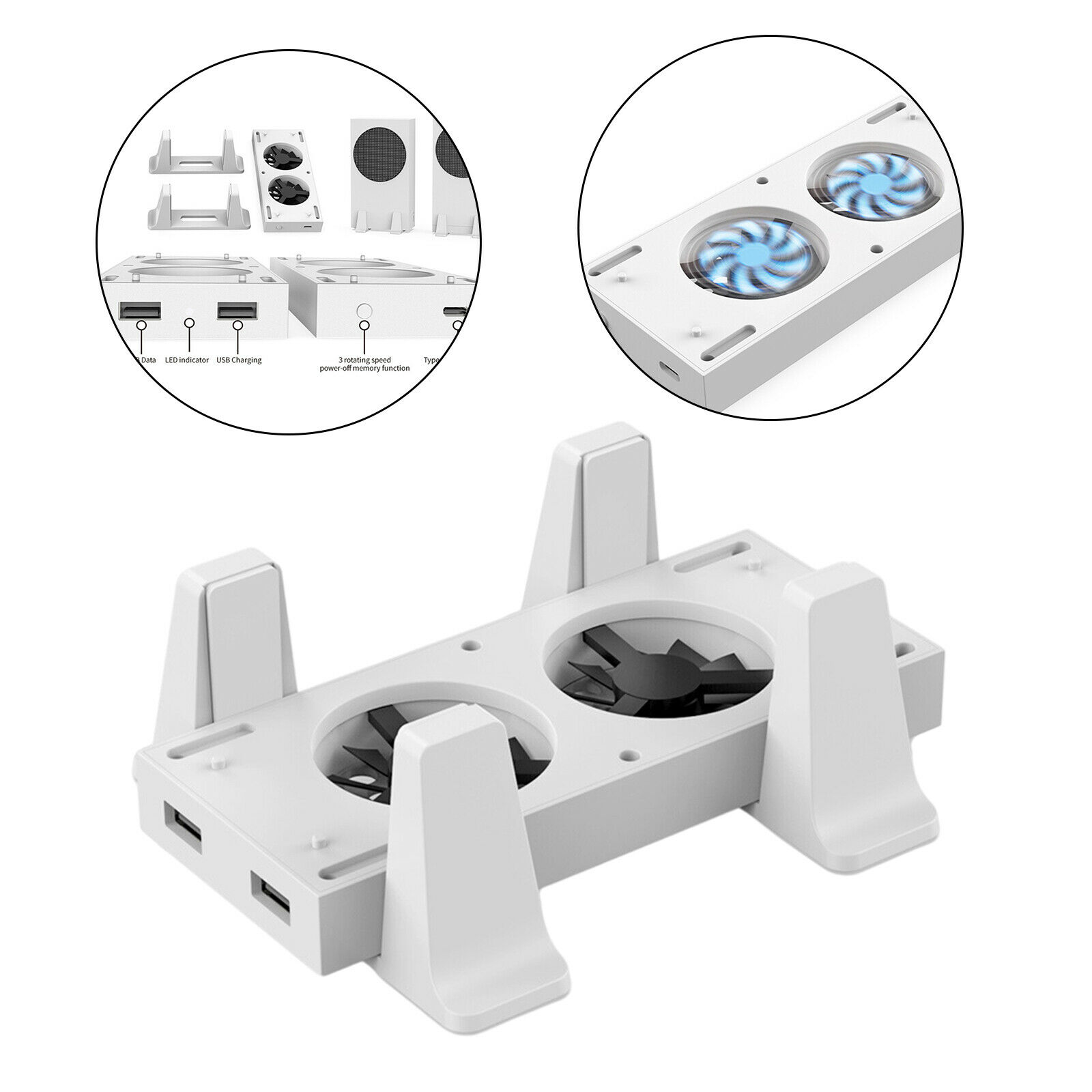 Vertical Stand for Series S Console w/ 2 Cooling Fan Adjustable Cooler