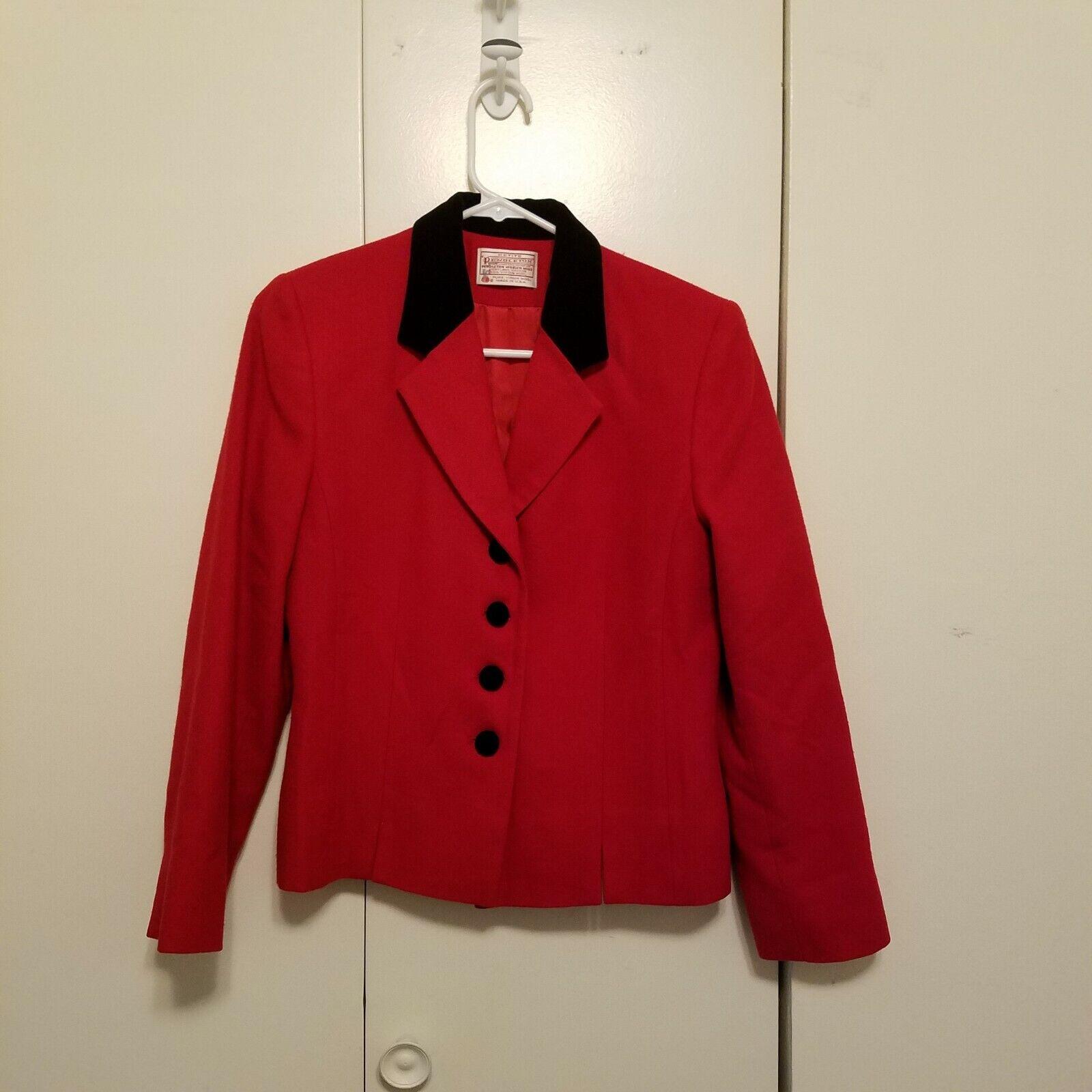 Vintage Pendleton Red Wool Velvet Collar Blazer  - image 1