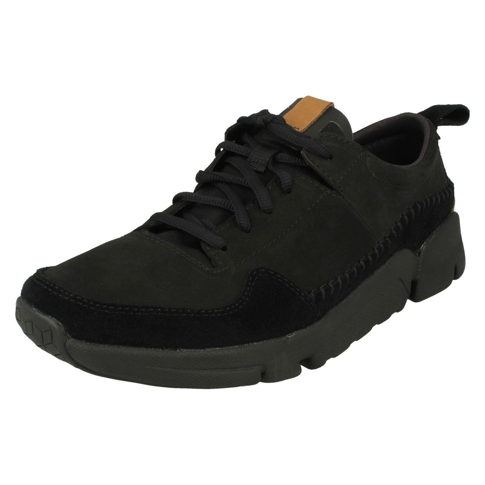 Hombre Clarks Trigenic - Tri Active Run Cuero Nobuk Zapatillas con Cordones