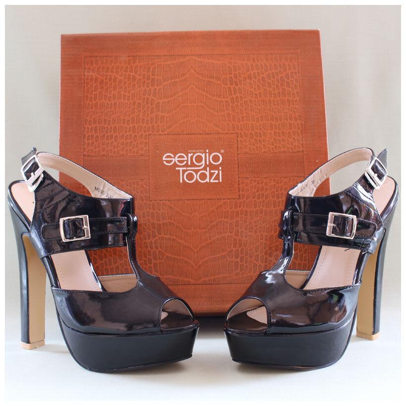 Sergio Todzi Sandaleetten Gr. 38 High Heels Lackpumps schwarz glänzend (#2243)