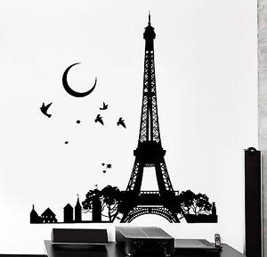 Wall Decal Paris France Eiffel Tower Night Moon Birds Vinyl Decal - Wall decals eiffel tower