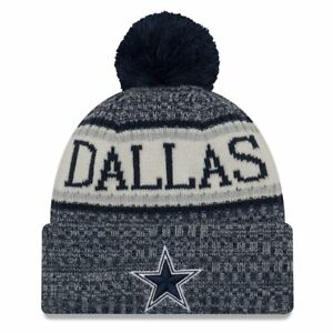 new style 40631 aabd0 Image is loading Dallas-Cowboys-New-Era-2018-Sideline-Cuffed-Pom-