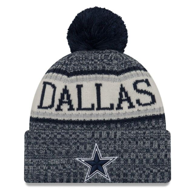 edecd2cd9 Era Dallas Cowboys 2018 on Field Sideline Pom Knit Cuffed NFL Beanie Hat Cap