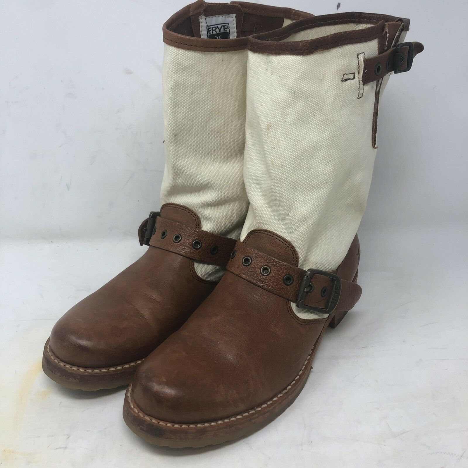 Frye Veronica Boots Short Harness Riding Motorcycle Canvas Women's Size 7.5 B