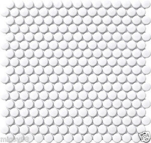 Image Is Loading Penny Round Tiles In White Gloss Glazed S