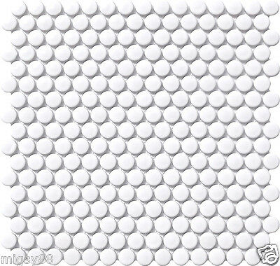 Penny Round Tiles in White Gloss Glazed - Sells per M2 (Penny Round Mosaic Tile)