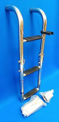 Quality Stainless Steel 3 Step Marine Folding Boarding Ladder Boat Yacht MS8