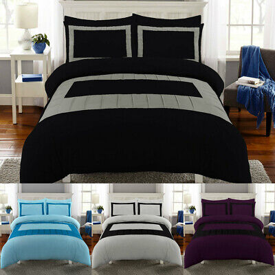 Luxury Duvet Cover Set Double Super King Size Bedding Quilt Bed Black Silver Etc EBay