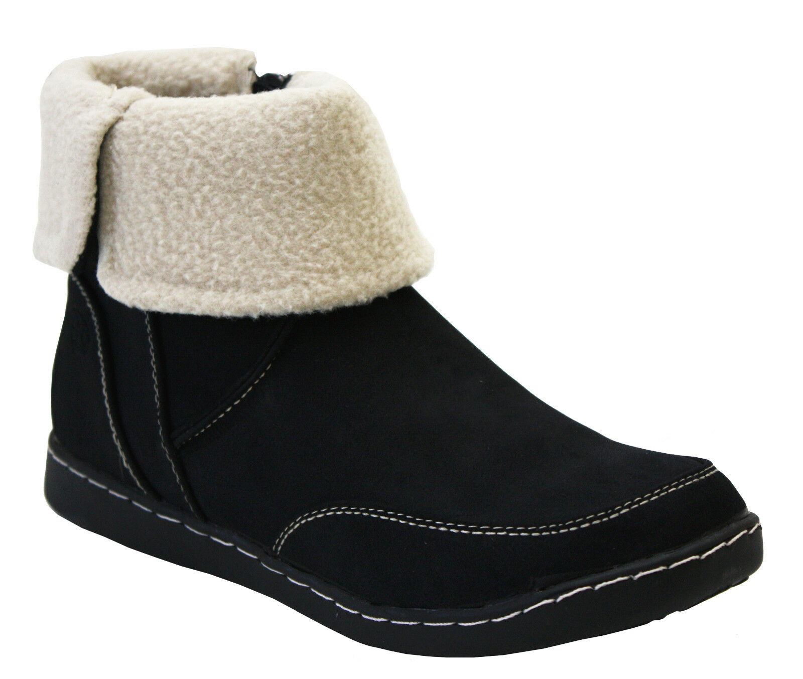 LADIES WOMENS FLEECE LINING WARM FLAT COMFORT ZIP ANKLE WINTER BOOTS SHOES 3-8