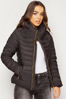 New Womens Ladies Thick Padded Fur Zip Up Coat Jacket Quilted Bomber Fur 8-16