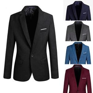 AU-Stock-Men-039-s-Casual-Slim-Fit-Formal-One-Button-Suit-Blazer-Coat-Jacket-Tops