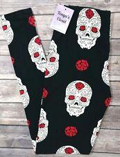 PLUS Size Skull Print Leggings Skeletons Brains Black Red Curvy 10-18