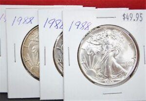 1988-Silver-American-Eagle-BU-1-oz-Coin-1-Dollar-Uncirculated-Toned-U-S-Mint