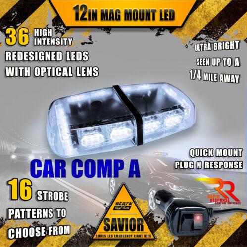 36 LED Light Bar Top Beacon Magnetic Flash Hazard Roof Emergency Strobe WHITE A