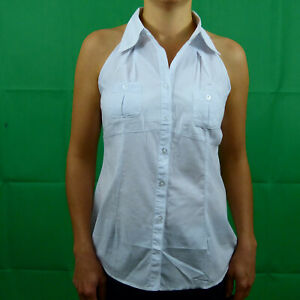 Black-White-Navy-Pink-Cotton-Sleeveless-Collar-Button-Shirt-Top-8-10-12-14-16-UK