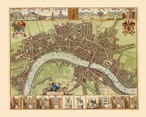 1680s-Antique-Map-City-of-London-Detailed-with-Landmarks-Pictures-amp-Street-Names