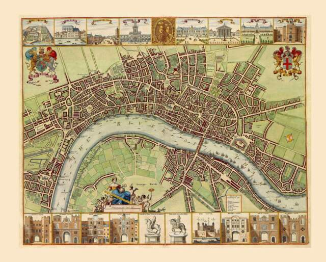 1680s Antique Map City of London Detailed With Landmarks Pictures