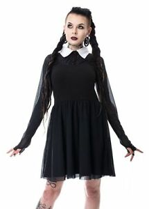 Image Is Loading Heartless Wednesday Addams Family Lace Dress Las Black