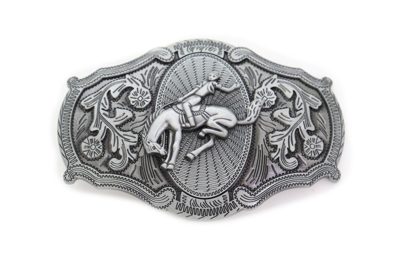 New Men Women Dark Silver Metal Belt Buckle Cowboy Rodeo Horse Cowboy Jeans Pant