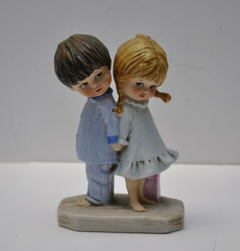 "1971 GORHAM 6.5"" GIRL WITH BOY MOPPETS PORCELAIN FIGURINE JAPAN EUC"