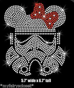 "6.7"" Star Wars Stormtrooper Minnie iron on rhinestone transfer applique patch"