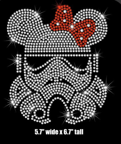 "6.7"" Star Wars Stormtrooper Minnie iron on rhinestone transfer applique patch"