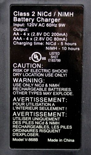 Automatic NiMH NiCD 8 Bay AA AAA Battery Charger Vanson V868 AC 60HZ 120V 9W NEW