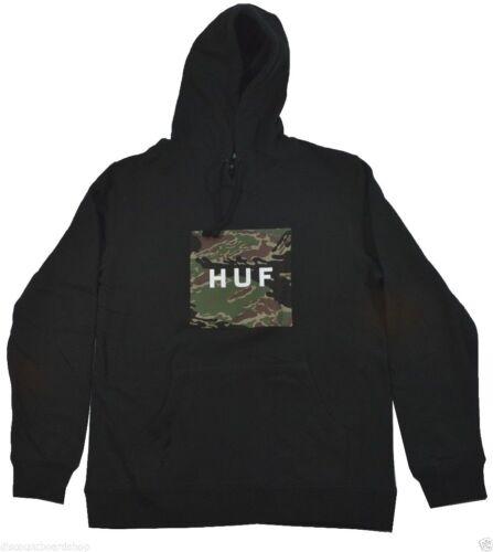 Huf TIGER CAMO BOX LOGO Black Camo Cotton Blend Pocket Men/'s Pullover Hoodie