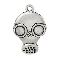 "6 pc Charm Pendants Gas Mask Antique Silver 28mmx19mm(1 1/8""x6/8"") LC4247"